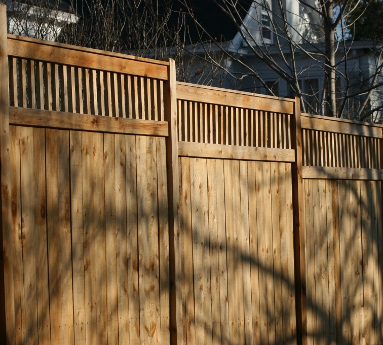AFC Grand Island - Wood Fencing, 1054 Custom Solid with Accent Top