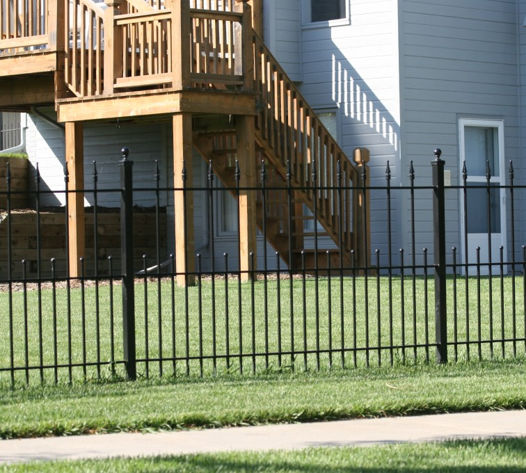 AFC Grand Island - Custom Iron Gate Fencing,1200 4' alternating pickets with balss and quadflares