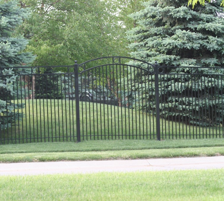 AFC Grand Island - Custom Iron Gate Fencing, 1211 Overscallop panel with rings