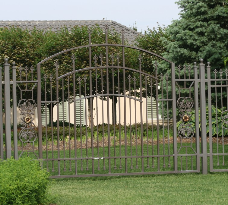AFC Grand Island - Custom Iron Gate Fencing, 1213 Overscallop panel with scroll work