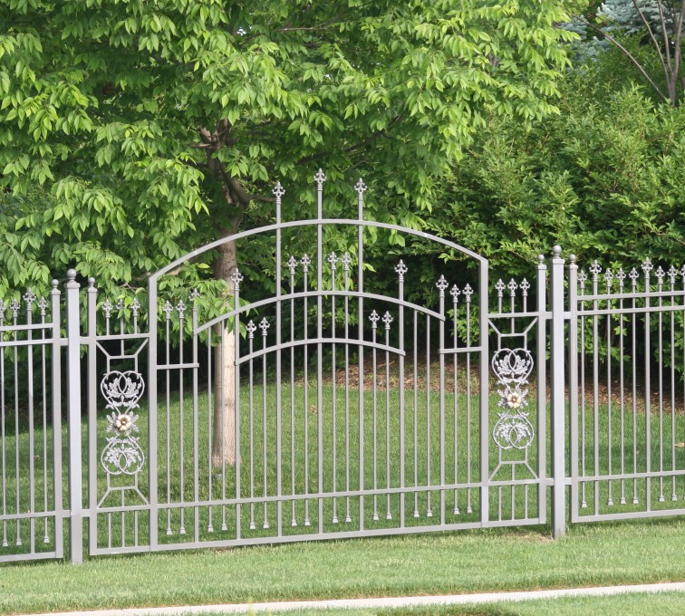 AFC Grand Island - Custom Iron Gate Fencing, 1214 Overscallop panel with scroll work