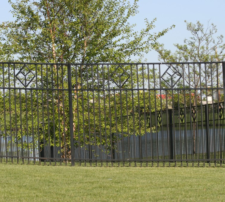 AFC Grand Island - Custom Iron Gate Fencing, 1217 Picket with diamond accent