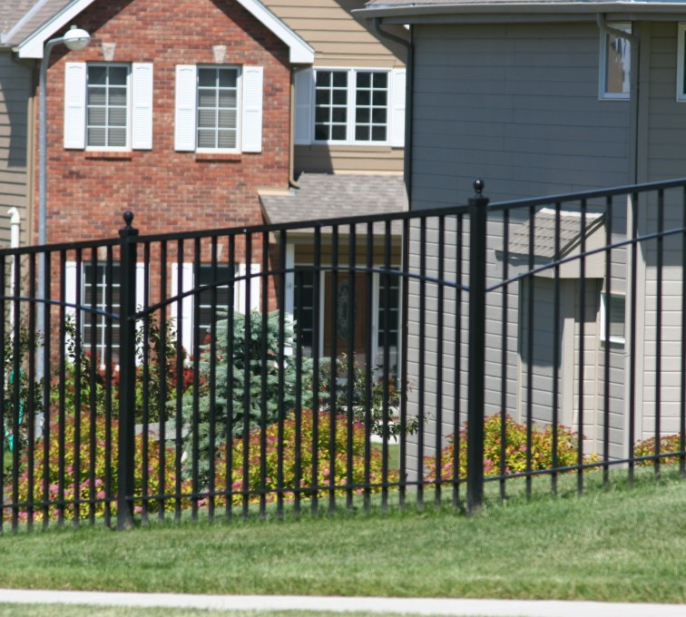 AFC Grand Island - Custom Iron Gate Fencing, 1226 6' with underscallop in square panel
