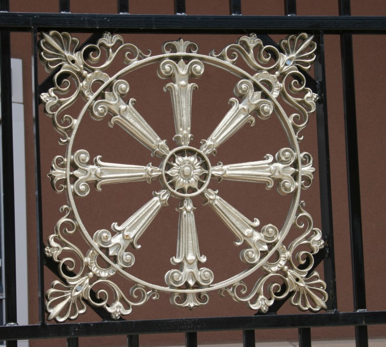 AFC Grand Island - Custom Iron Gate Fencing, 1232 Overscallop with quadflare & emblem