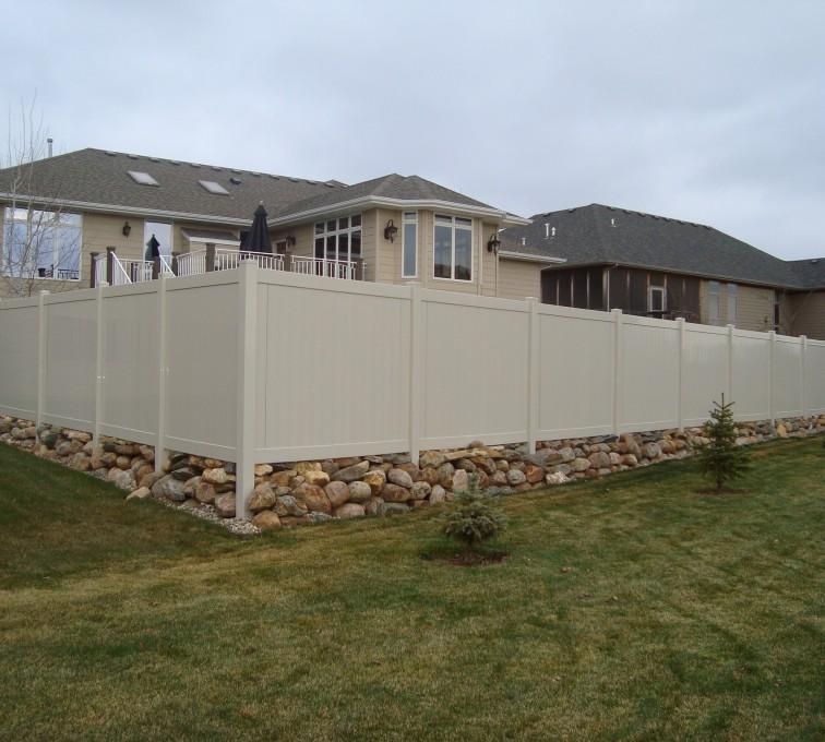 AFC Grand Island - Vinyl Fencing, Solid Privacy - Sandstone