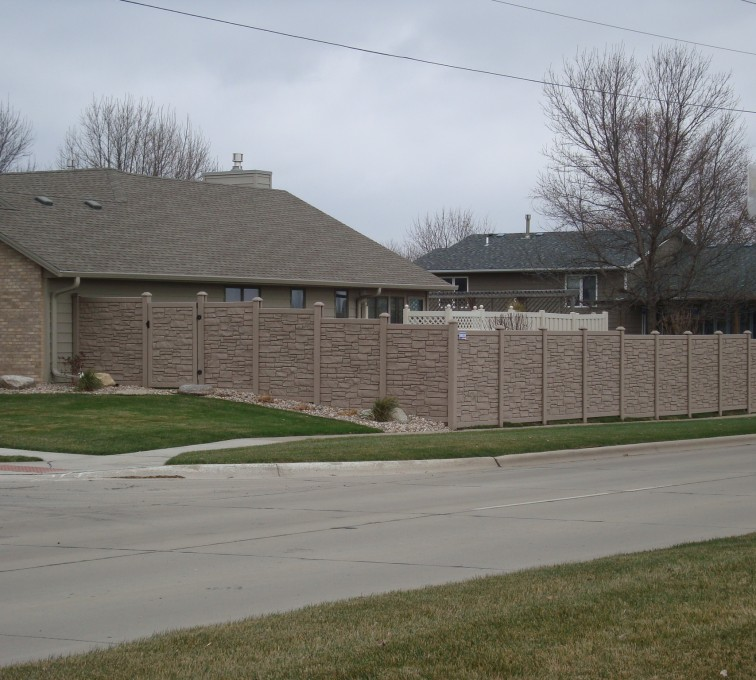 AFC Grand Island - Vinyl Fencing, Solid Privacy Stone Accent