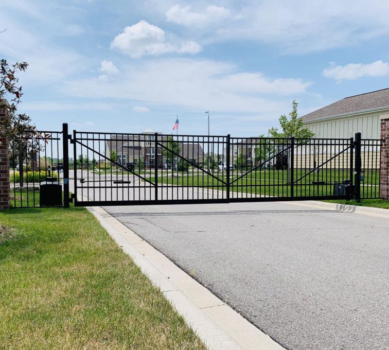 Double swing automatic ornamental gate